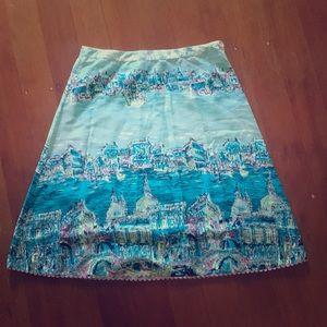 Rare anthropologie Elevenses Venice postcard skirt